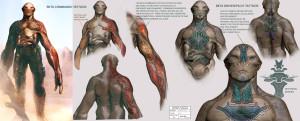 Концепт-арт татуировок коммандо расы Бета